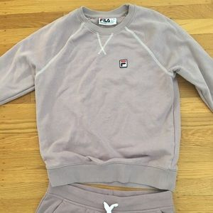 Mauve/Dark Blush Fila Sweatshirt and Sweatpants